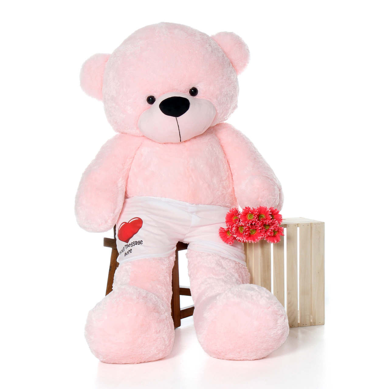 72in Giant Teddy Pink Lady Cuddles in Red Heart Your Message Here Boxers