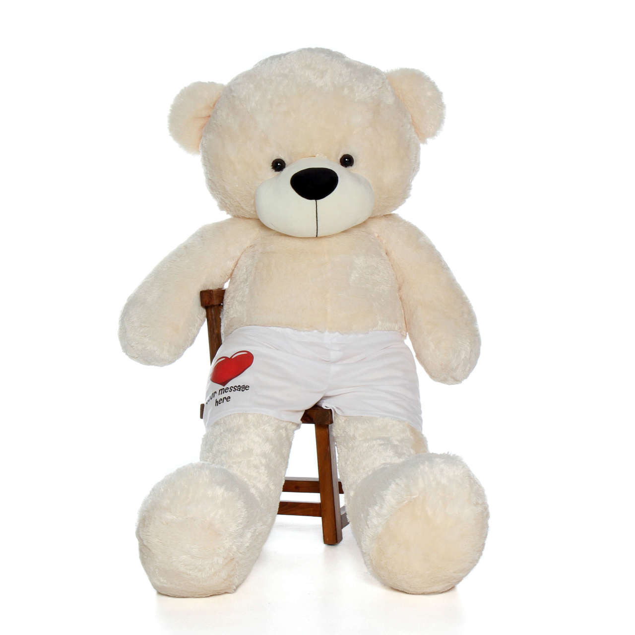 6ft Giant Teddy Bear Cozy Cuddles Vanilla Cream in Red Heart Your Message Here Boxers