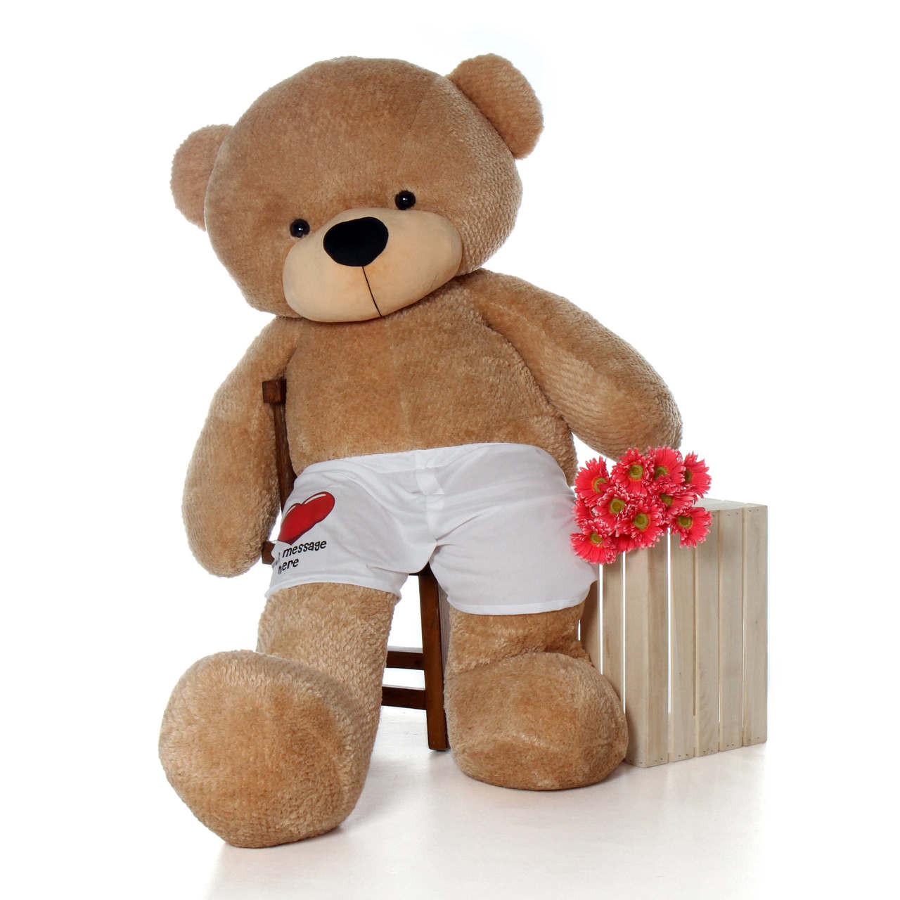72in Shaggy Amber Cuddles Giant Teddy Bear in Red Heart Your Message Here Boxers