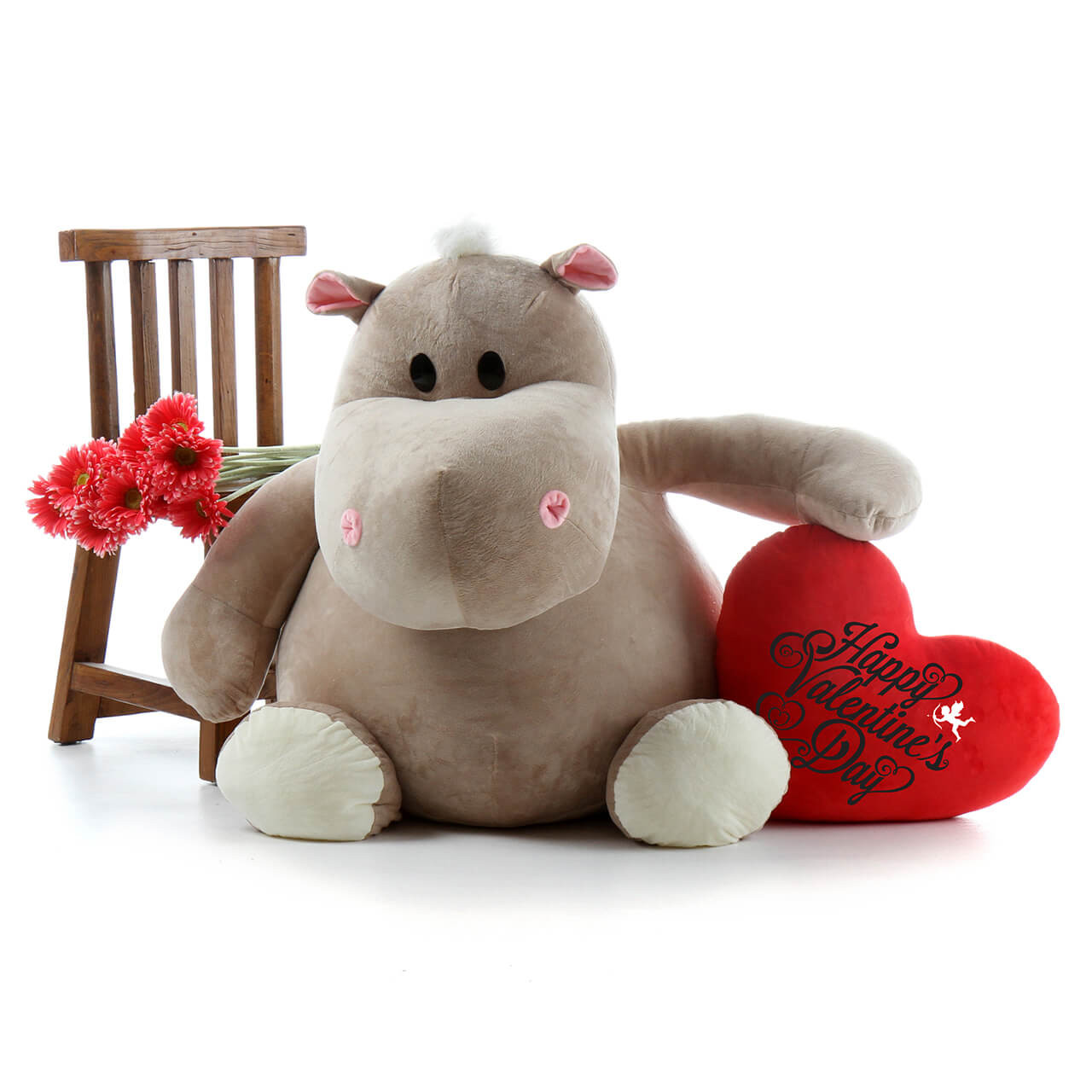 Giant Hippo Stuffed Animal Toy with Red Heart