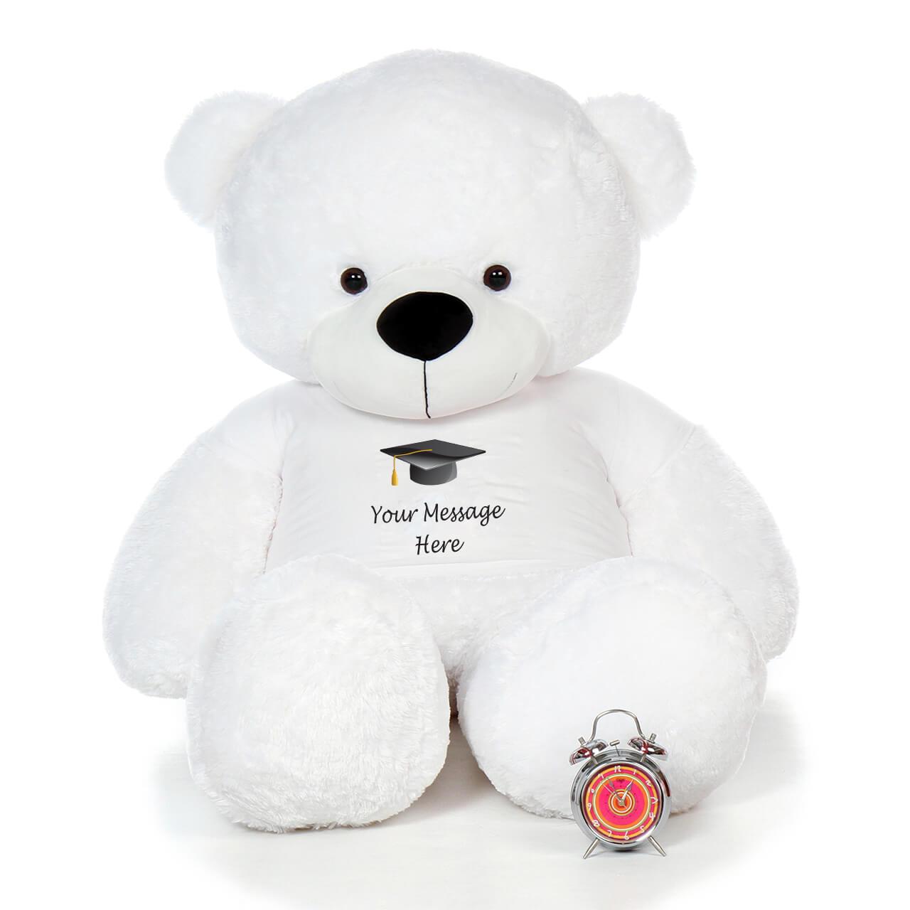 6 Foot White Teddy Bear for Graduation Gift