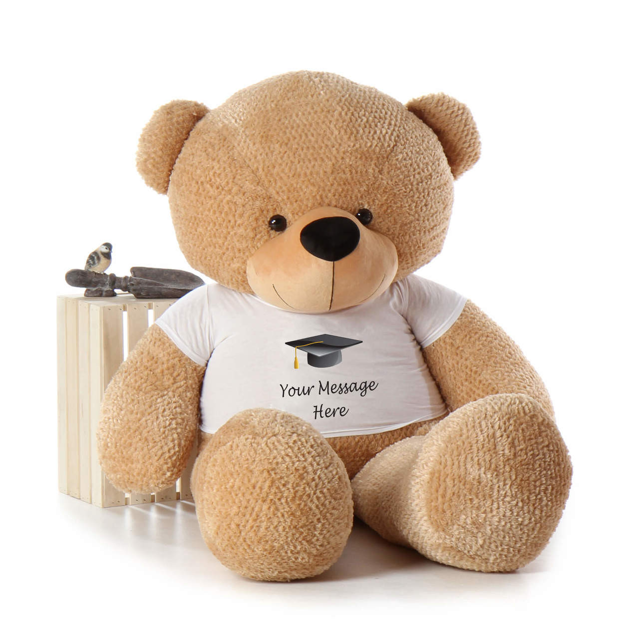 Adorable Amber Brown Life Size Teddy Bear with Graduation T-shirt