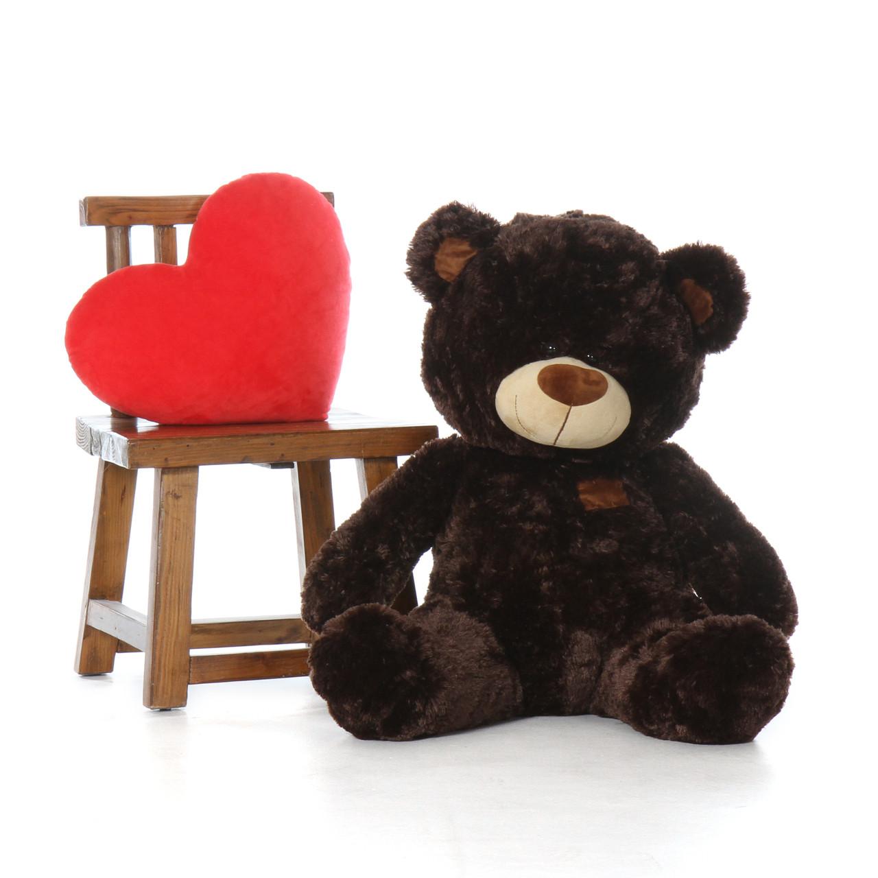Almond Shags dark chocolate brown teddy bear 35in