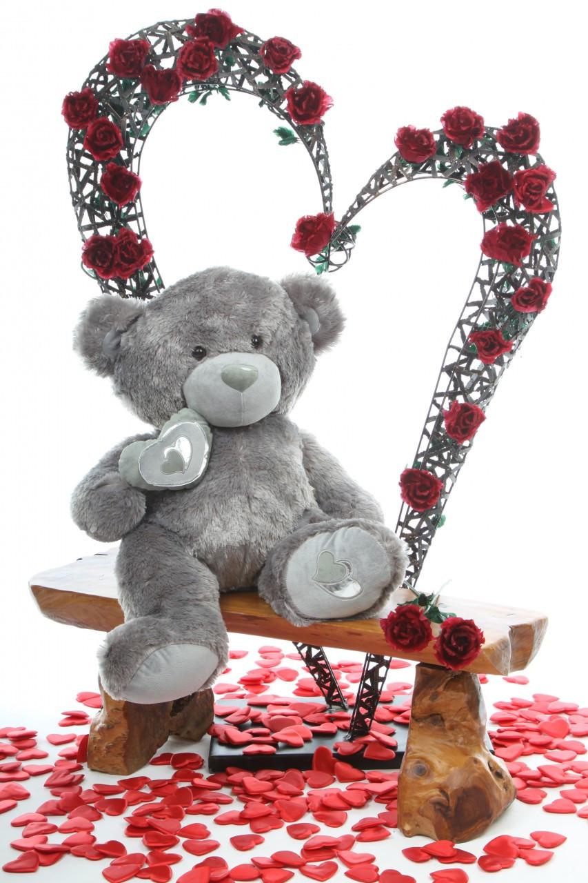 2.5ft Silver Teddy Bear Snuggle Pie Big Love