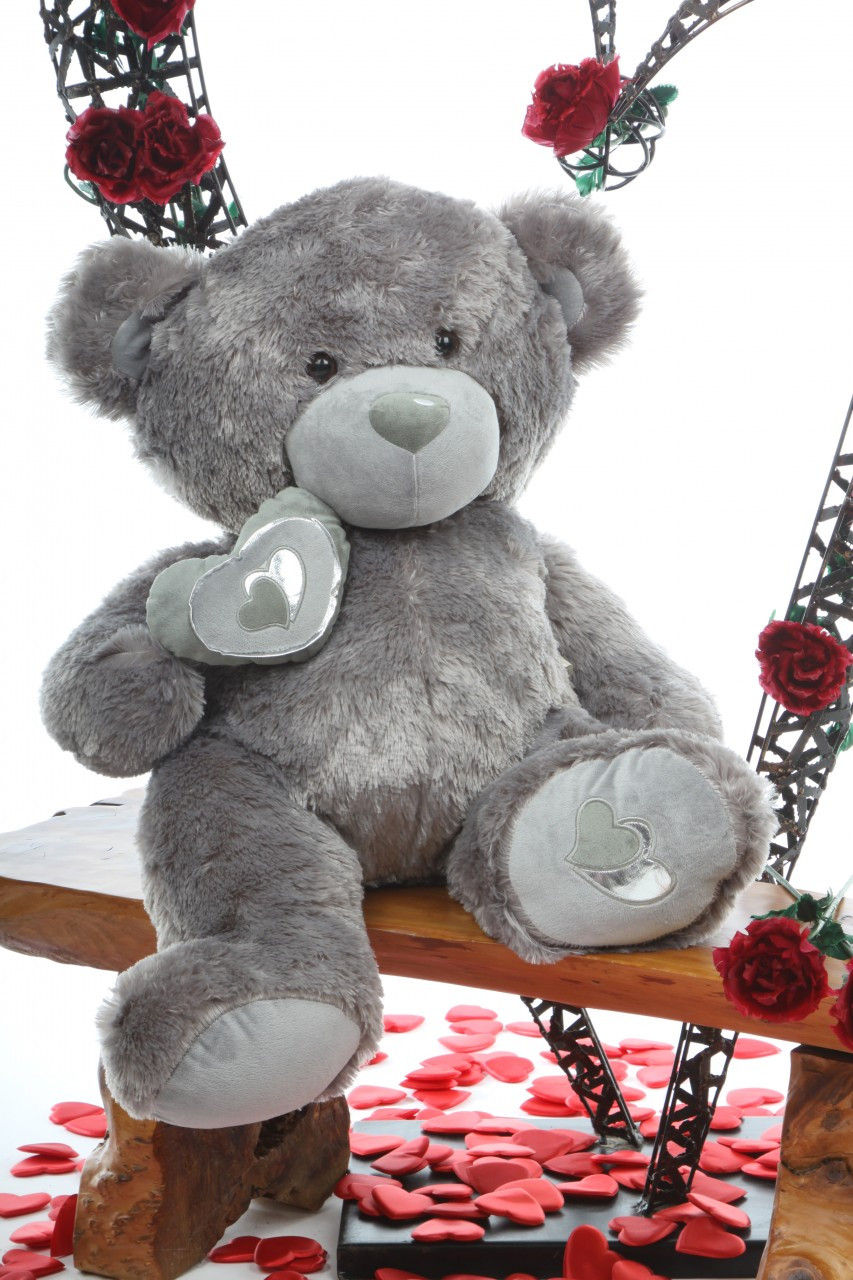 30in Snuggle Pie Big Love Silver teddy bear