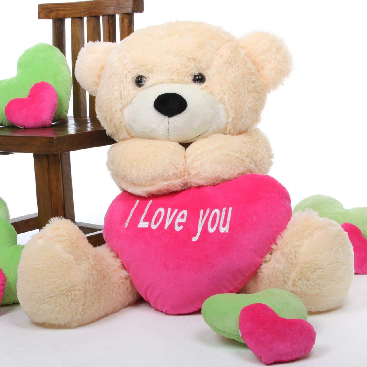 Cozy Love Cuddles With Big I You Heart Cream Teddy Bear 38in