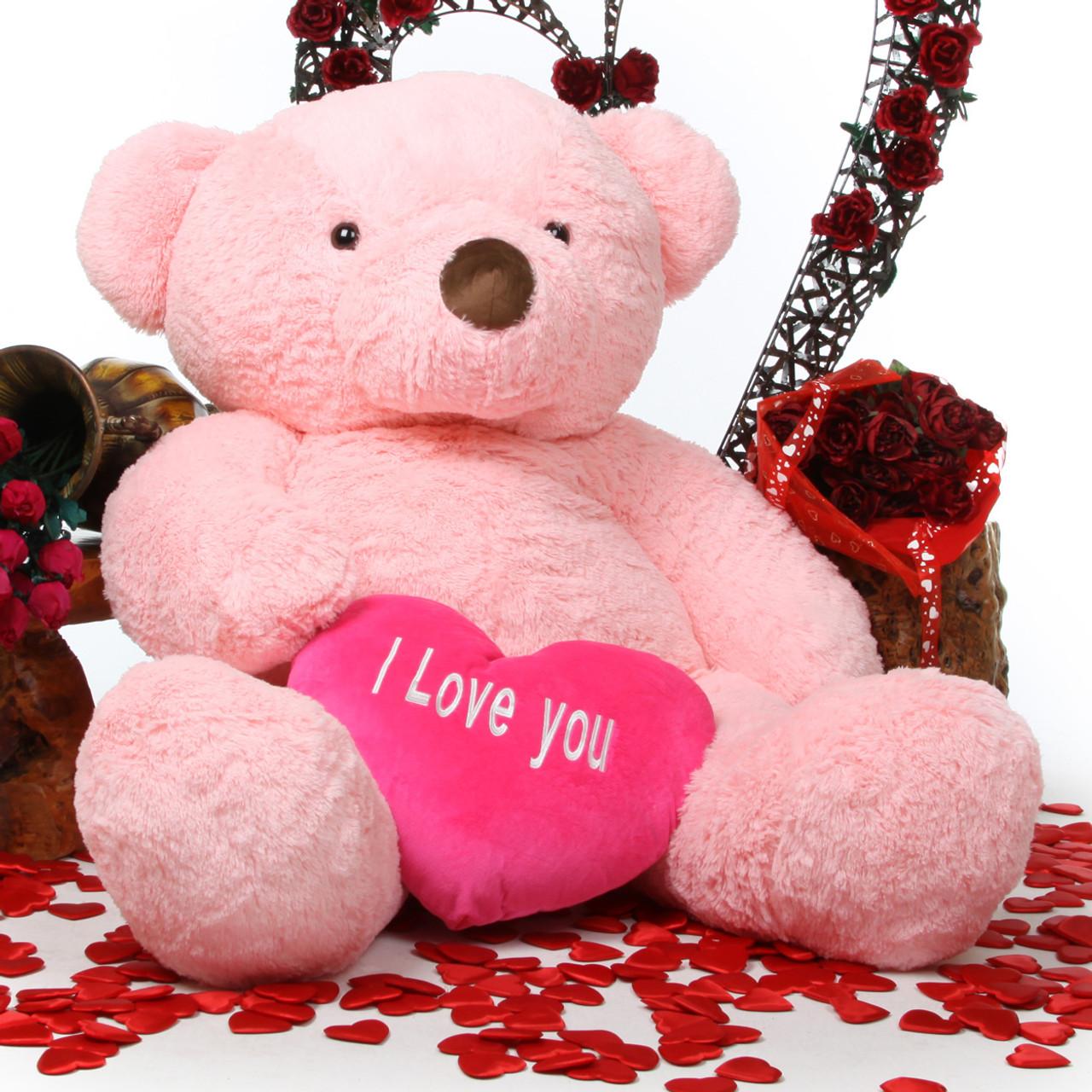 Gigi love chubs 55 pink teddy bear w i love you heart giant gigi love chubs pink teddy bear with heart 55in altavistaventures Choice Image