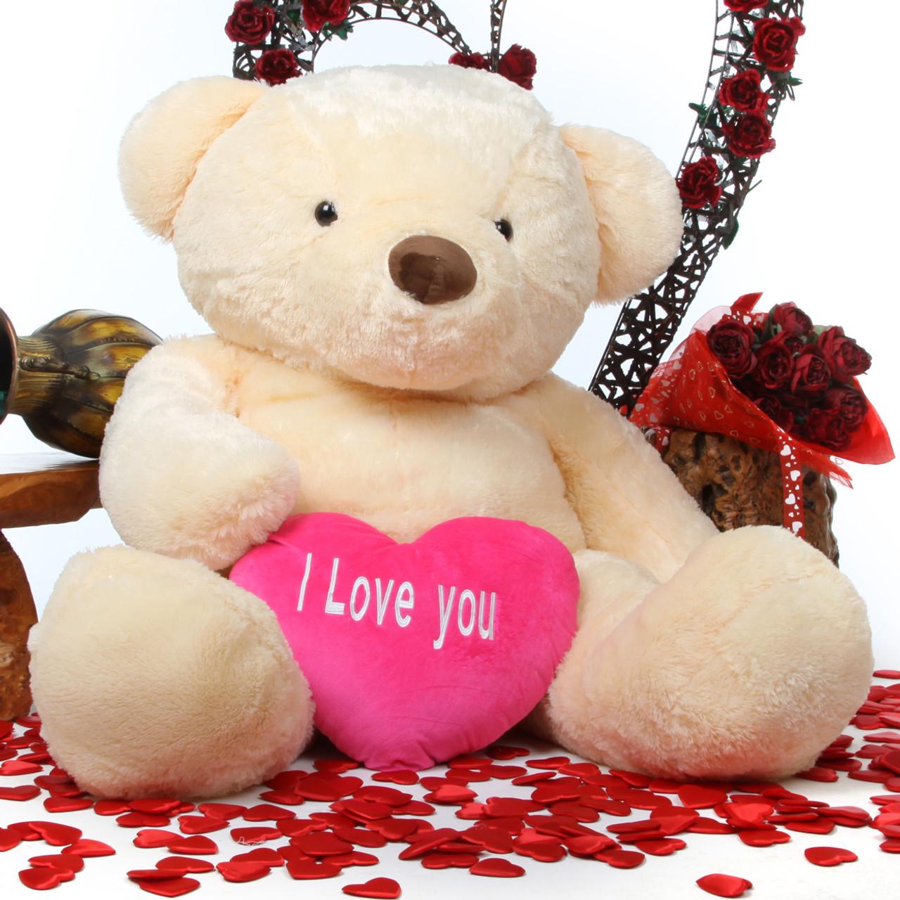 smiley love cuddles 55 cream teddy bear w i love you heart giant