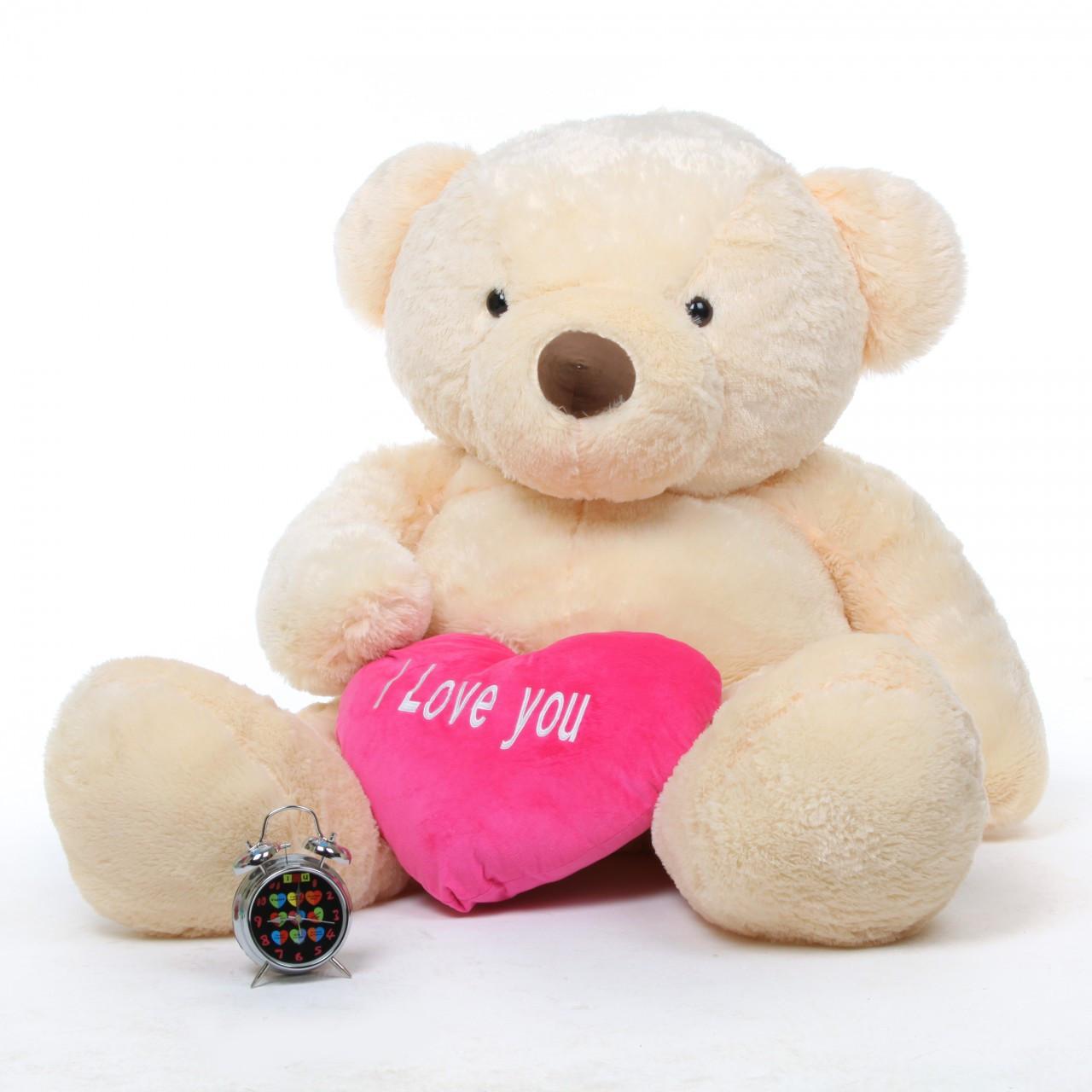 55in Life Size Smiley Love Chubs Cream Teddy Bear