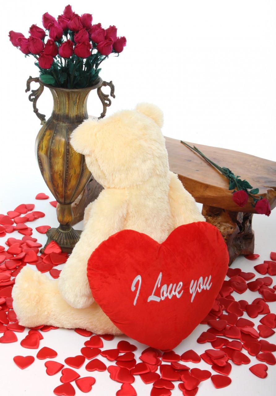 Tiny Heart Tubs cream teddy bear with heart 32in