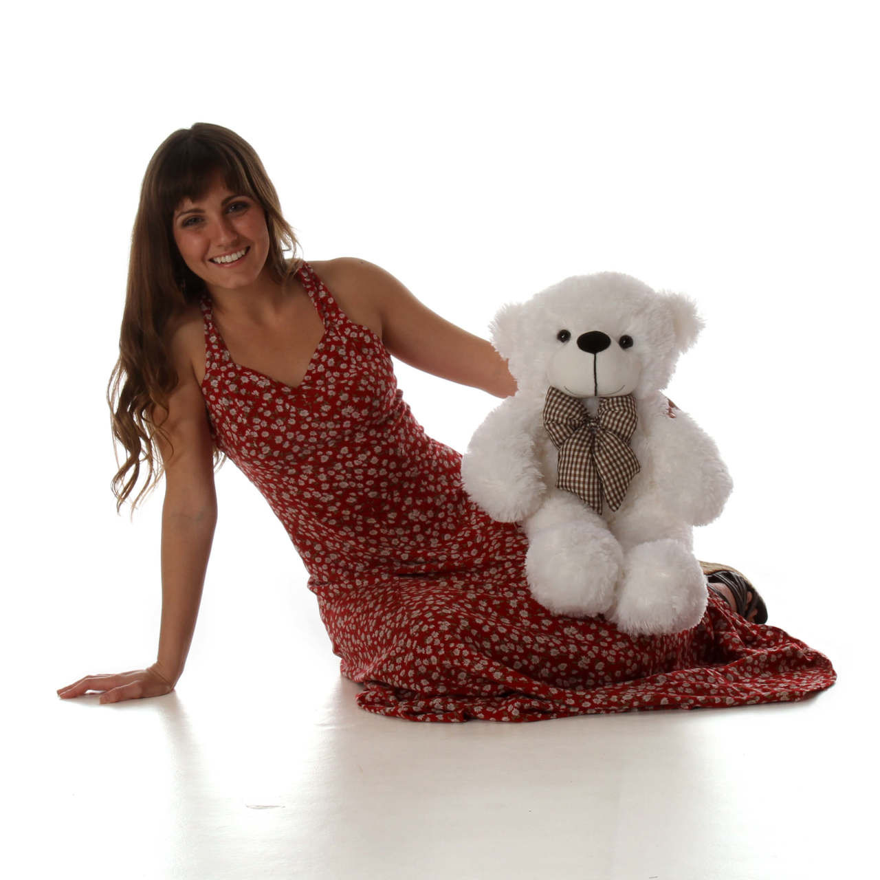 24in big white teddy bear Coco Cuddles is the perfect huggable armful of cuteness