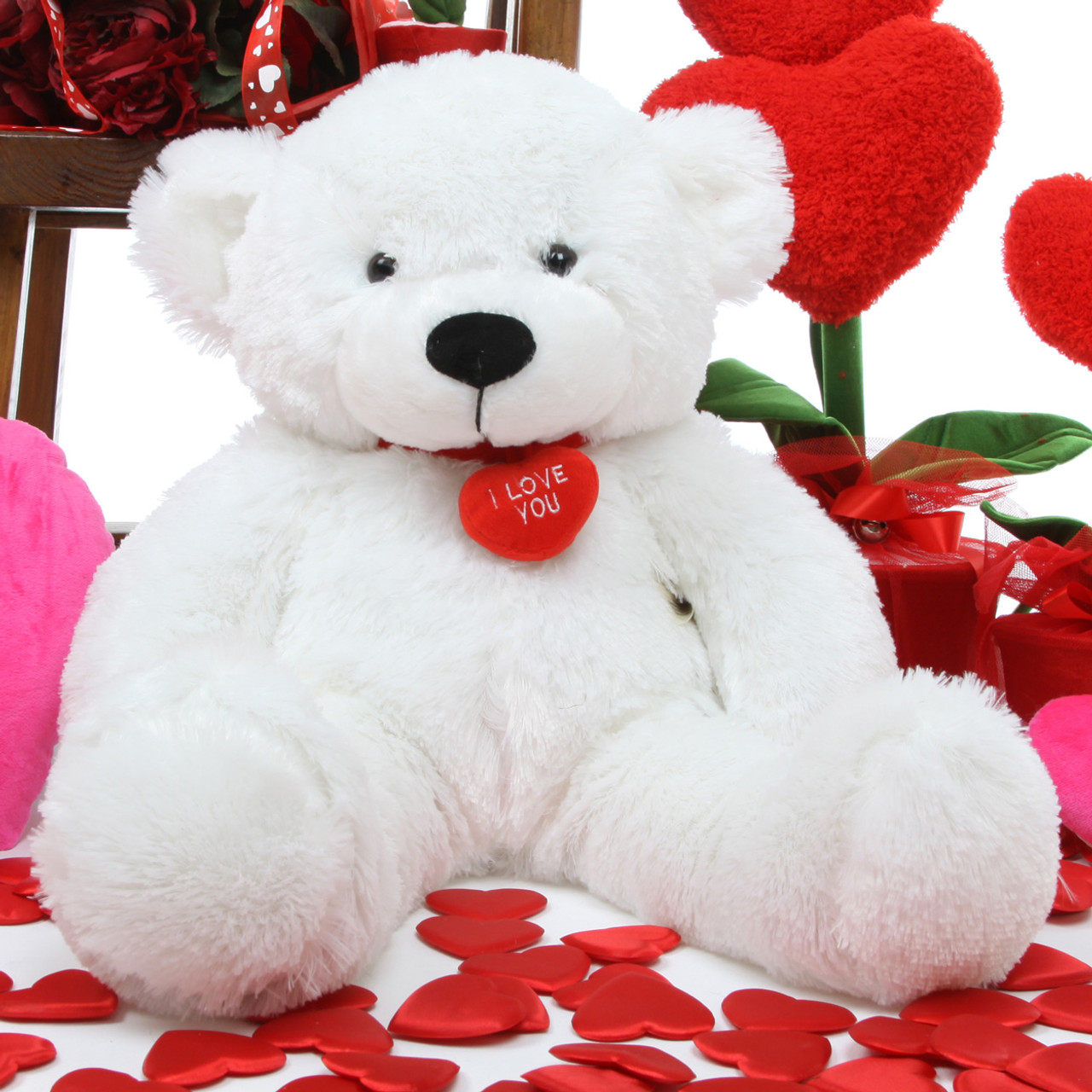"coco l. cuddles 24"" white teddy bear w/ i love you necklace - giant"