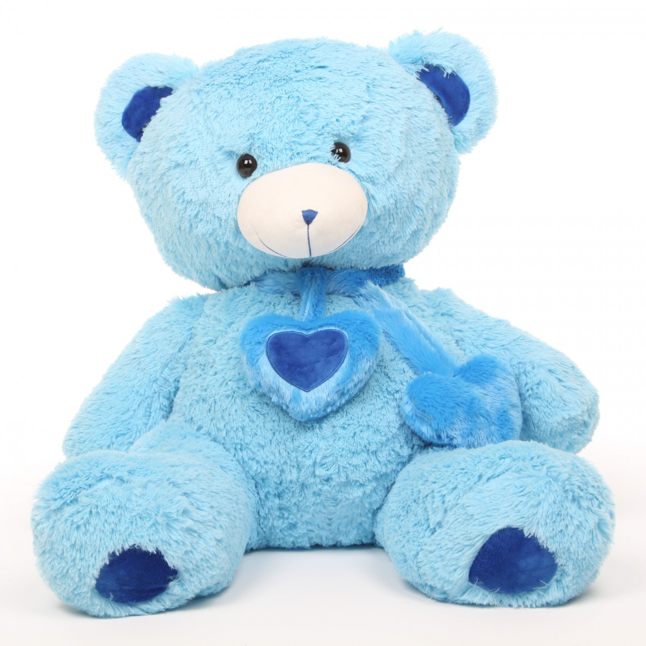 Shorty Hugs Cuddly Blue Heart Teddy Bear 36in