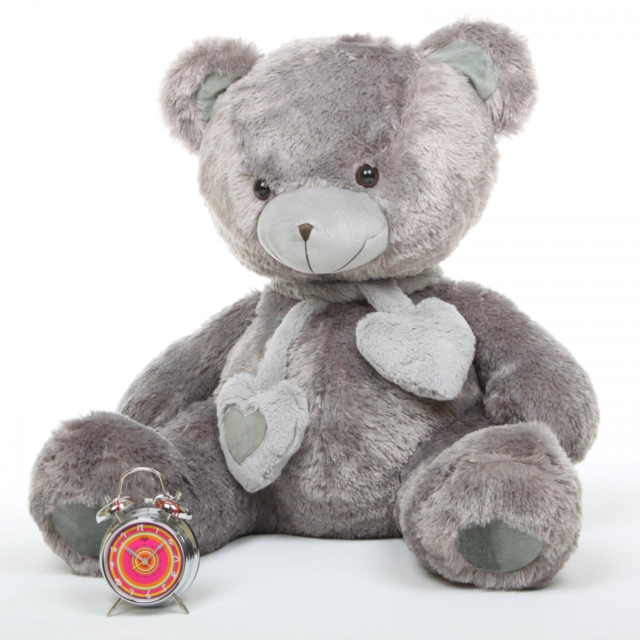 Angel Hugs Plush Silver Grey Heart Teddy Bear 36in