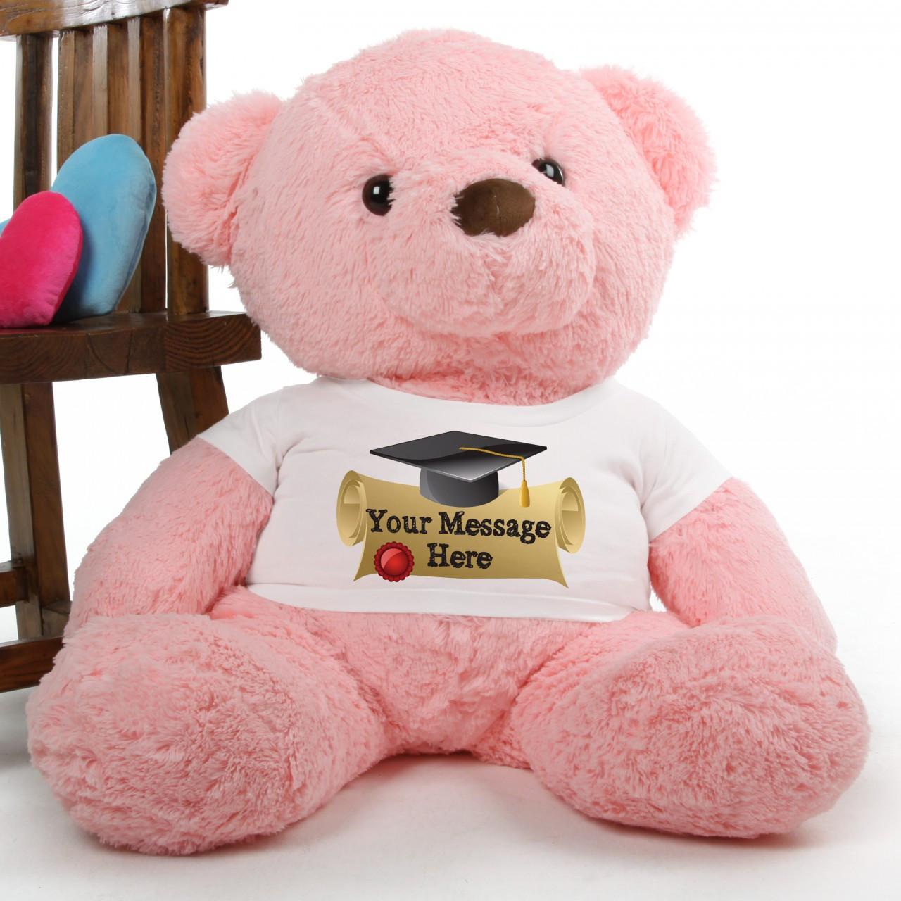 Gigi Chubs Pink Personalized Graduation Teddy Bear 38in