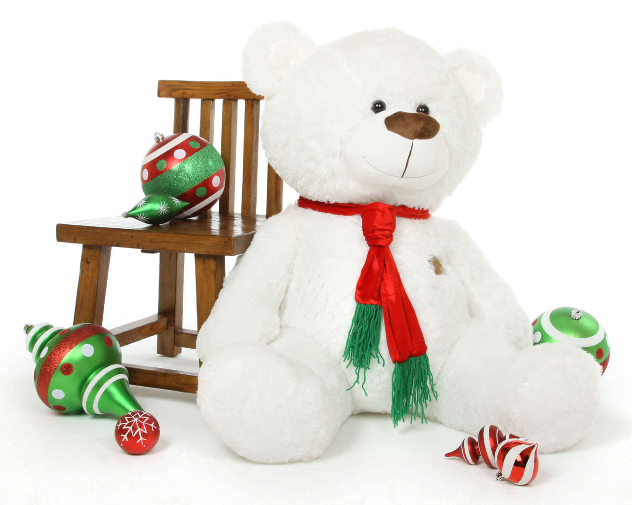 Waldo Holiday Shags white teddy bear 45in