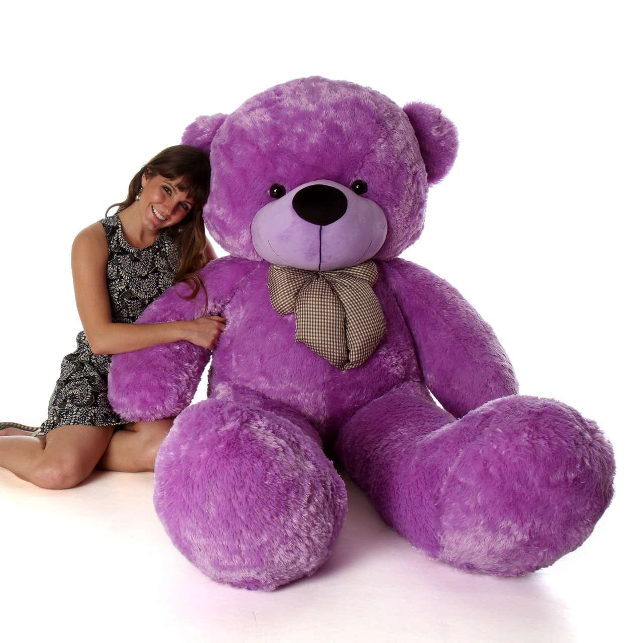 life size 6ft purple teddy bear with vibrant light purple fur