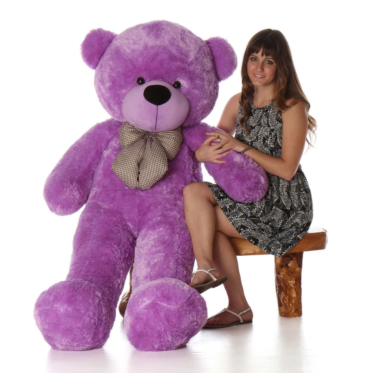 Deedee cuddles 55 lilac huge plush teddy bear giant purple 60in best selling life size purple teddy bear deedee cuddles voltagebd Image collections