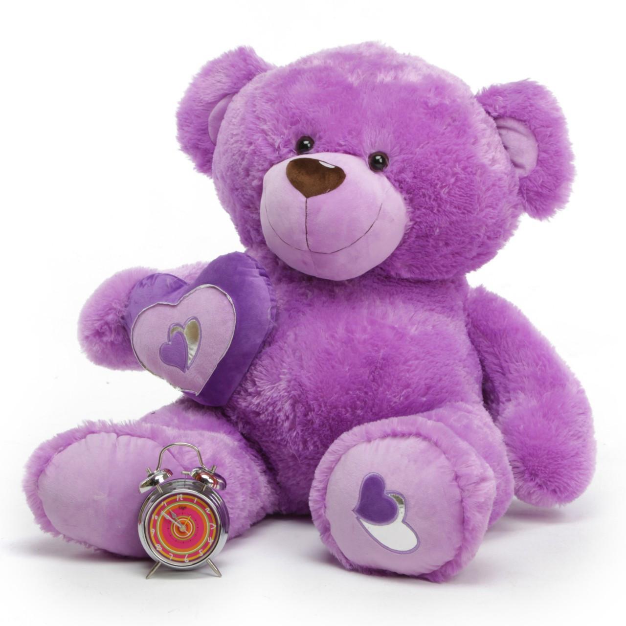 4ft Purple Sewsie Big Love Extra Large Teddy Bear