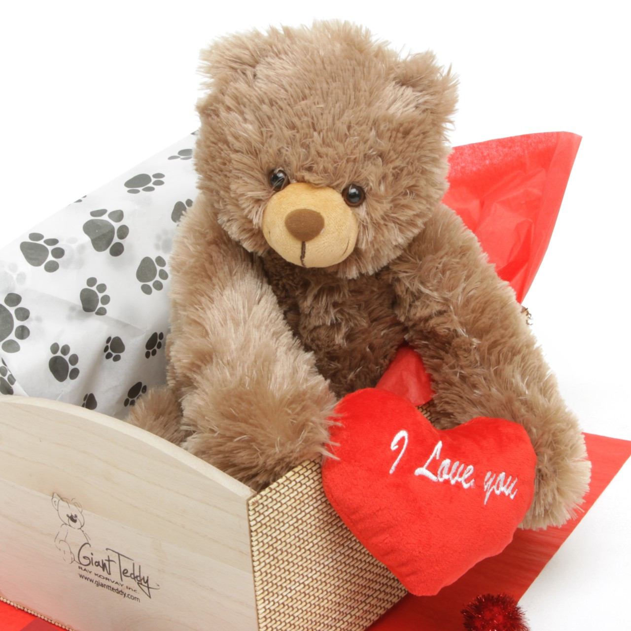 Heart Conqueror Bear Hug Care Package Sweetie Heart Tubs mocha brown teddy bear 18in