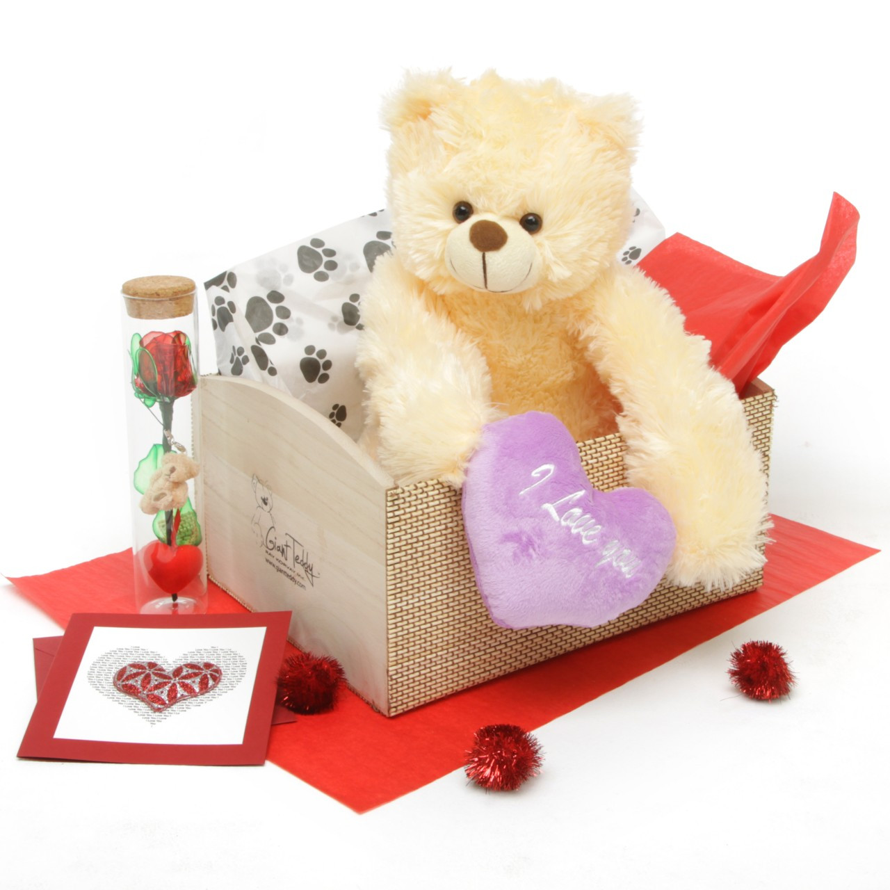 Heart Conqueror Cream Teddy Bear Hug Care Package 18in