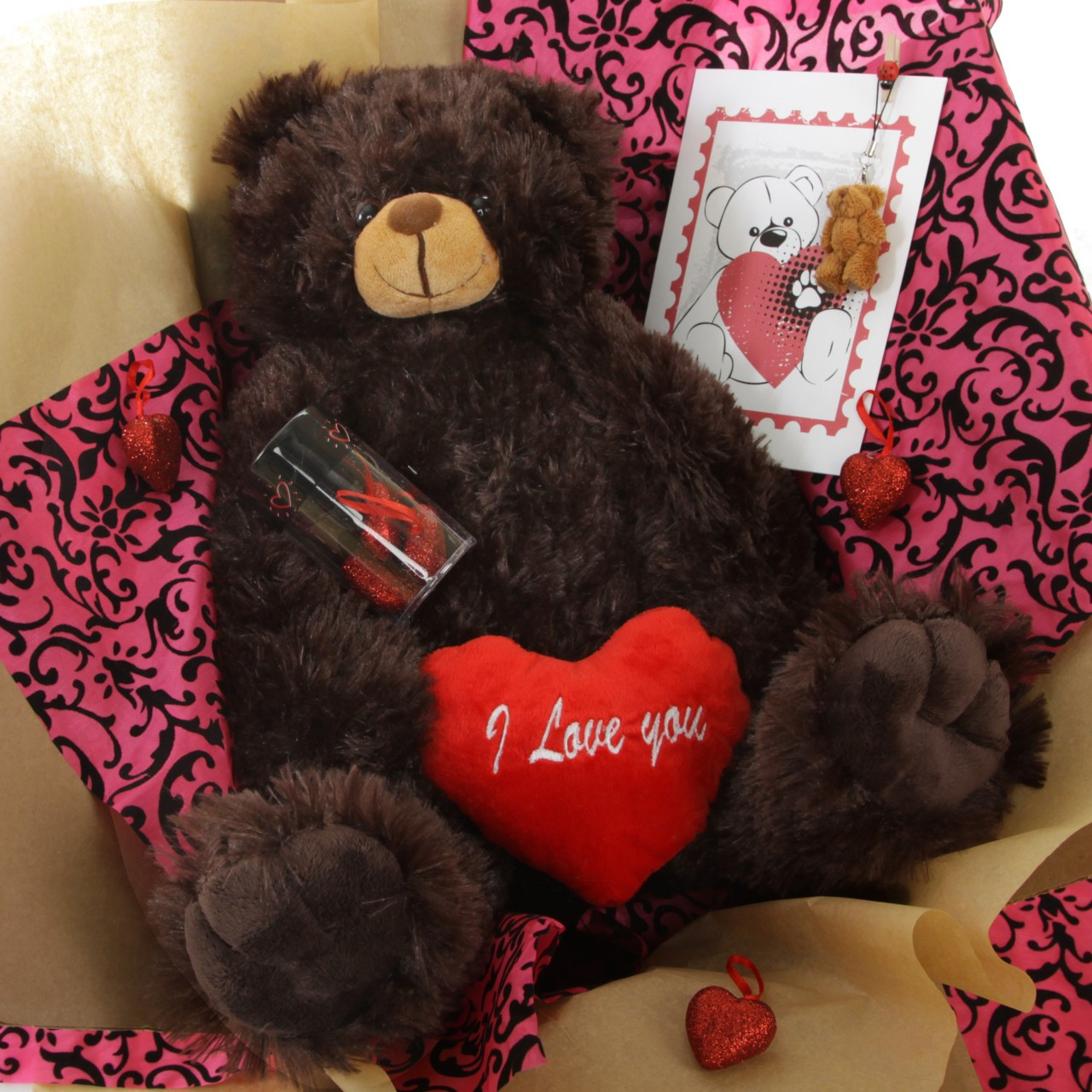 Gimme Some Lovin' Bear Hug Care Package featuring 18in Baby Heart Tubs Chocolate Brown