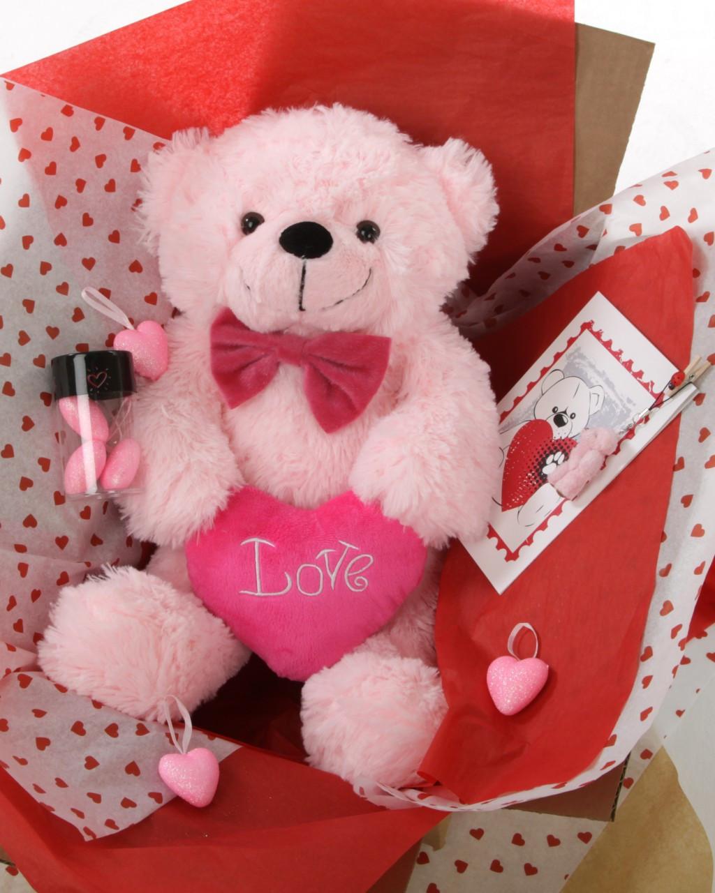 18in Pink Teddy Bear Hug Care Package