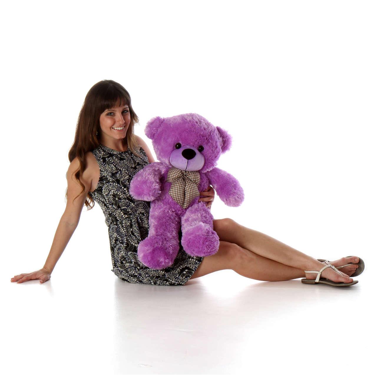 2.5ft Purple Teddy Bear with Model DeeDee Cuddles