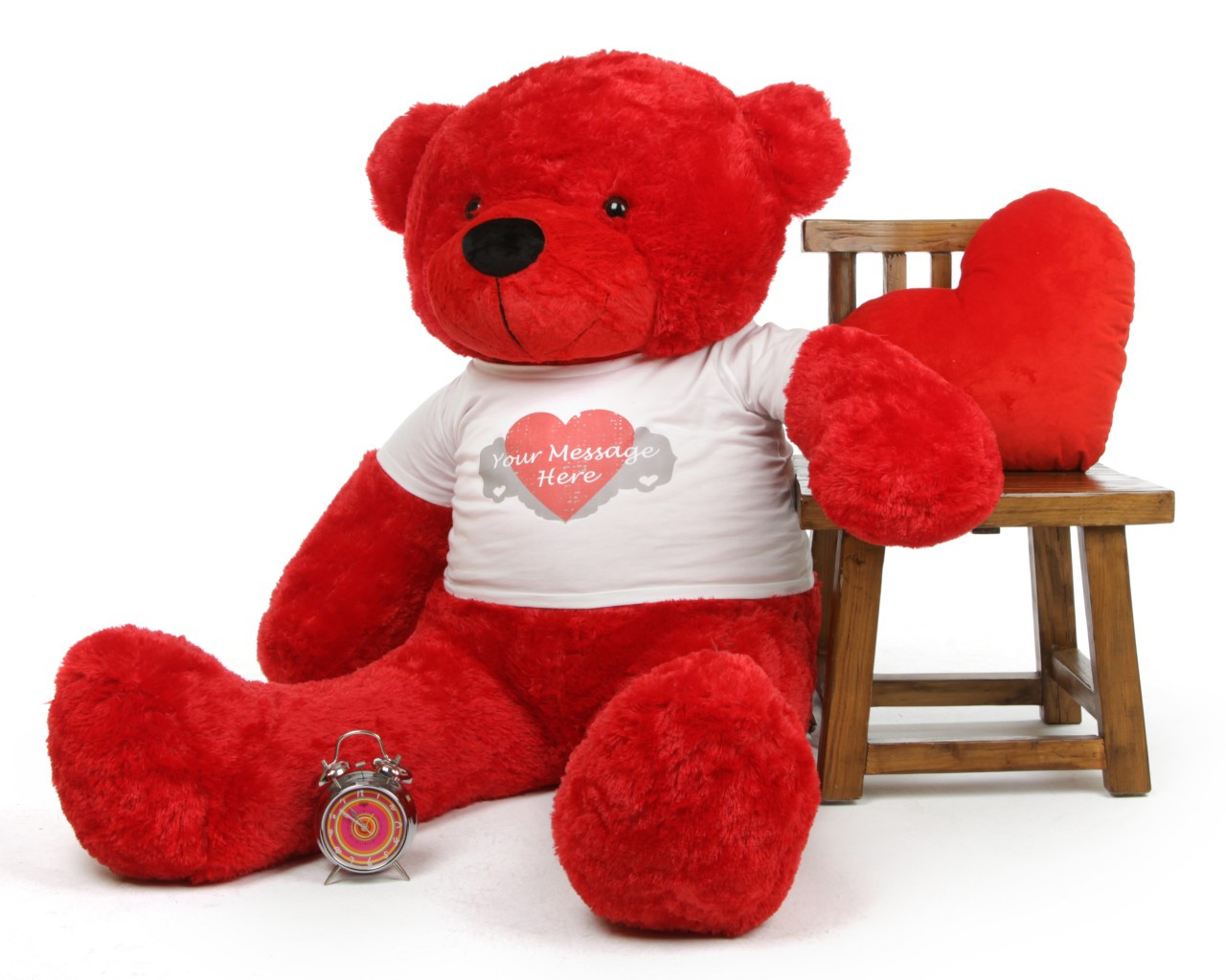 5ft Red Bitsy Cuddles with Heart Print T-shirt Life Size Teddy Bear