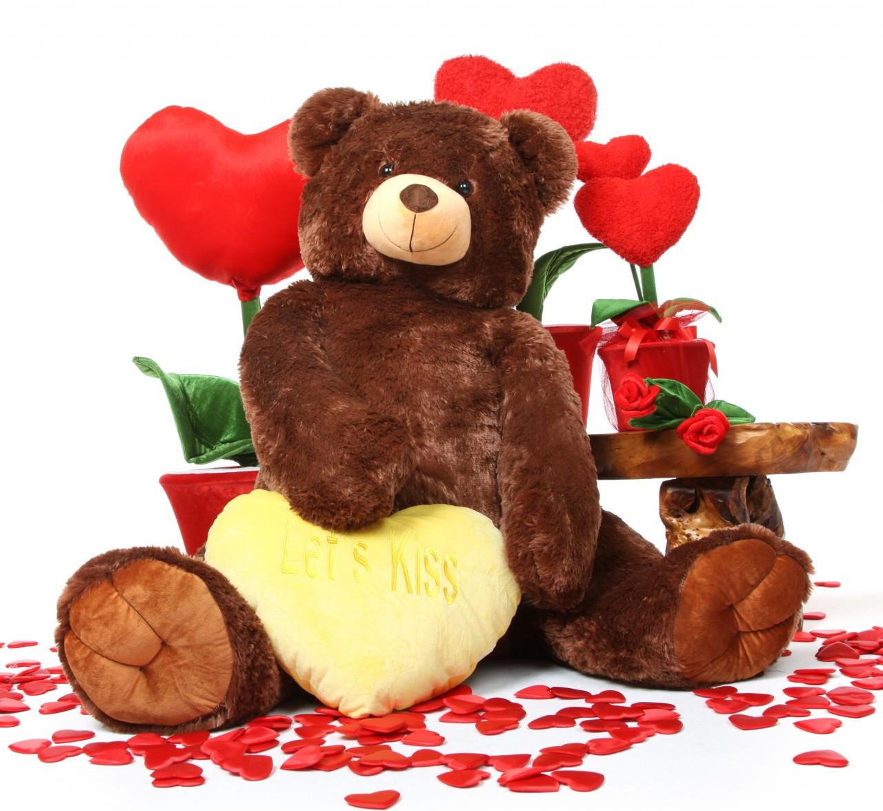 Jumbo Smooches Heart Tubs LETS KISS Yellow Heart Dark Caramel Teddy Bear 52in
