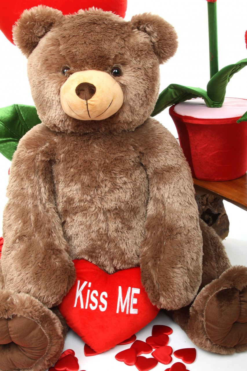 Sweetie Heart Tubs mocha brown teddy bear with Kiss Me heart 42in