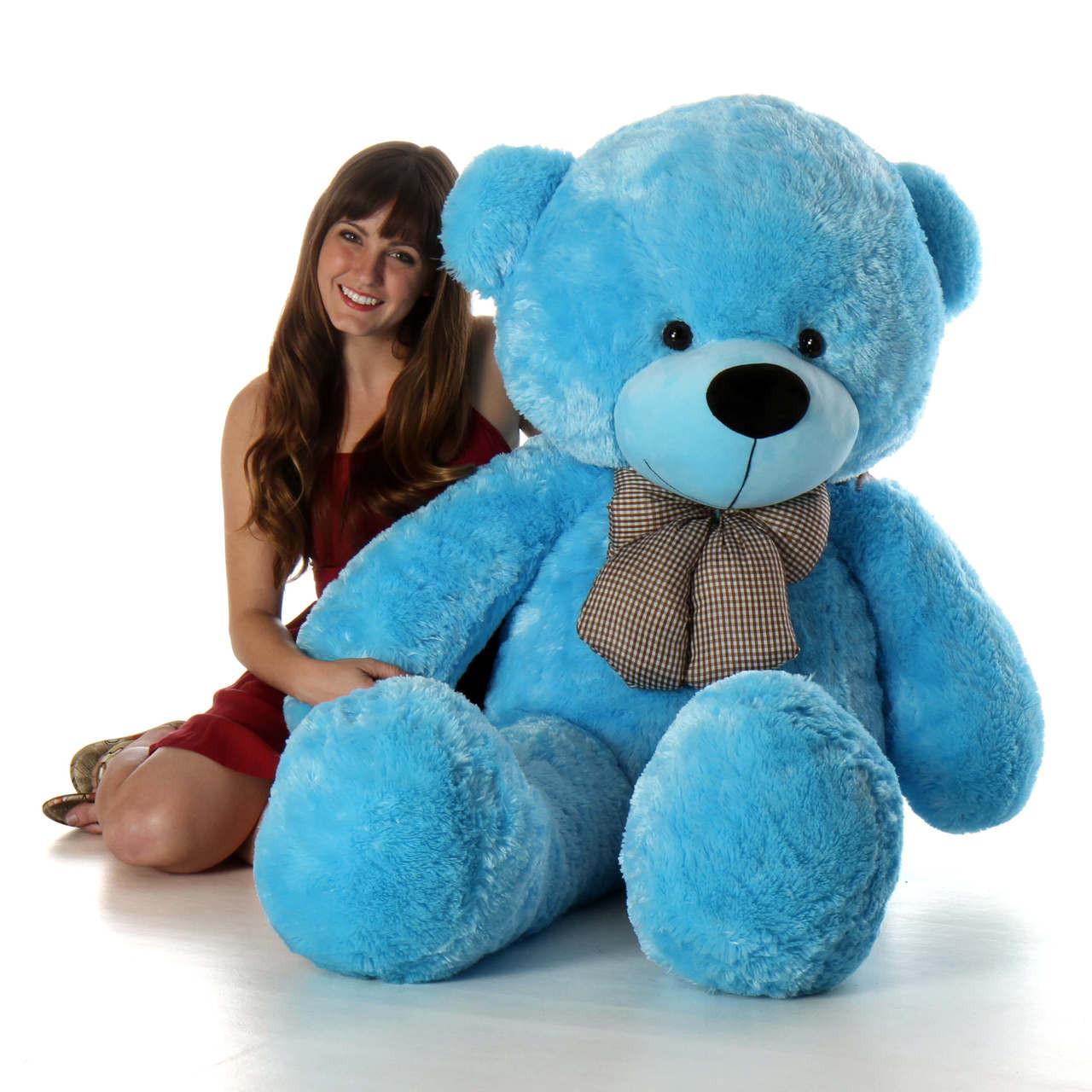 Happy cuddles 60in big blue plush teddy bear giant teddy bear happy cuddles big blue teddy bear 60in giant teddy bear altavistaventures Images