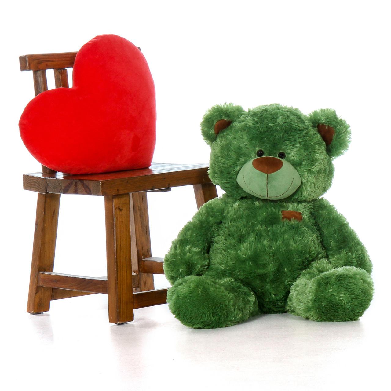 Big Green Teddy Bear in Sitting Position