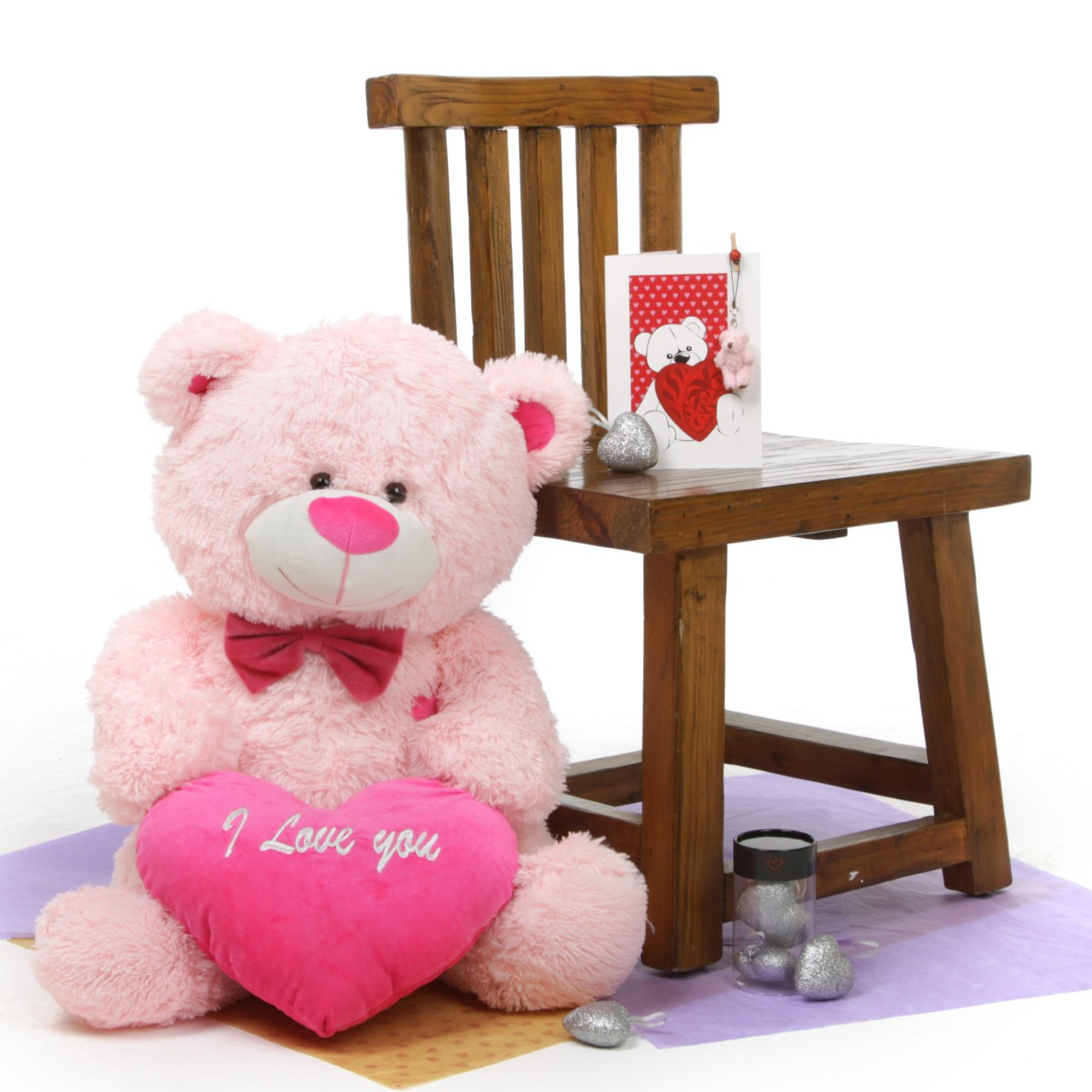 He Loves Me! Bear Hug Care Package featuring LuLu Shags Pink 30in