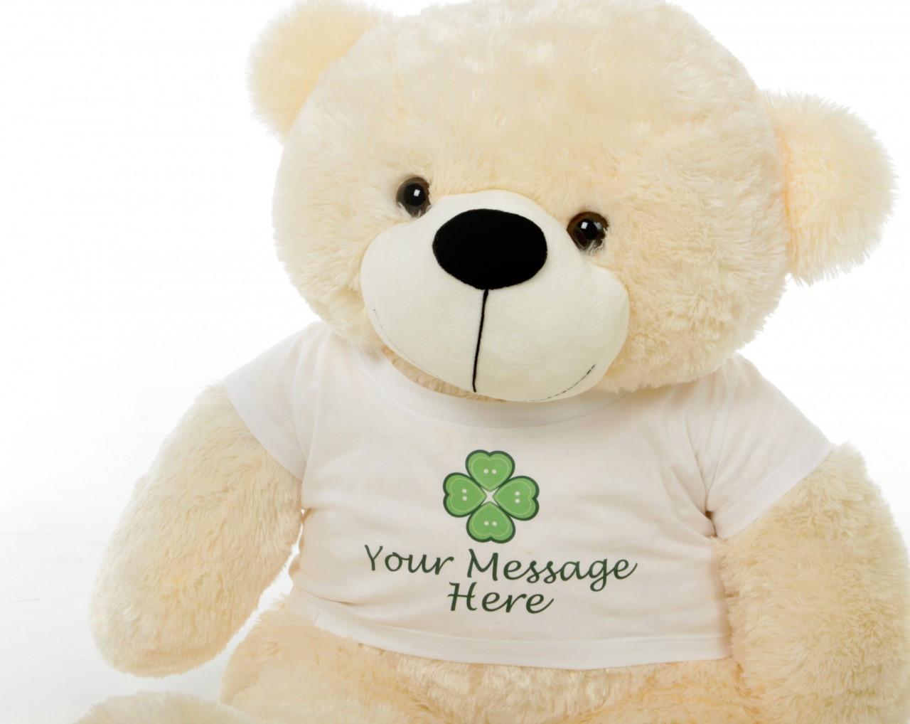 3ft Cream Cozy Cuddles Personalized St. Patricks Day Teddy Bear