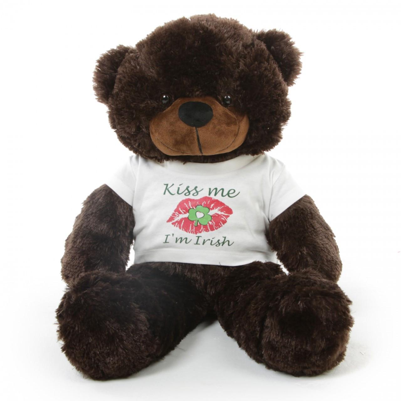 "Kiss me I'm Irish T-Shirt St Patrick's Day Teddy Bear 30"""