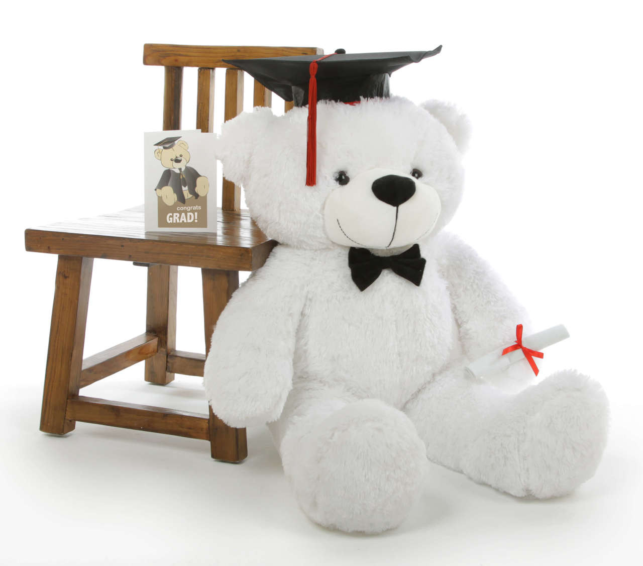 Coco G Cuddles White Graduation Teddy Bear with Cap and Diploma 38in