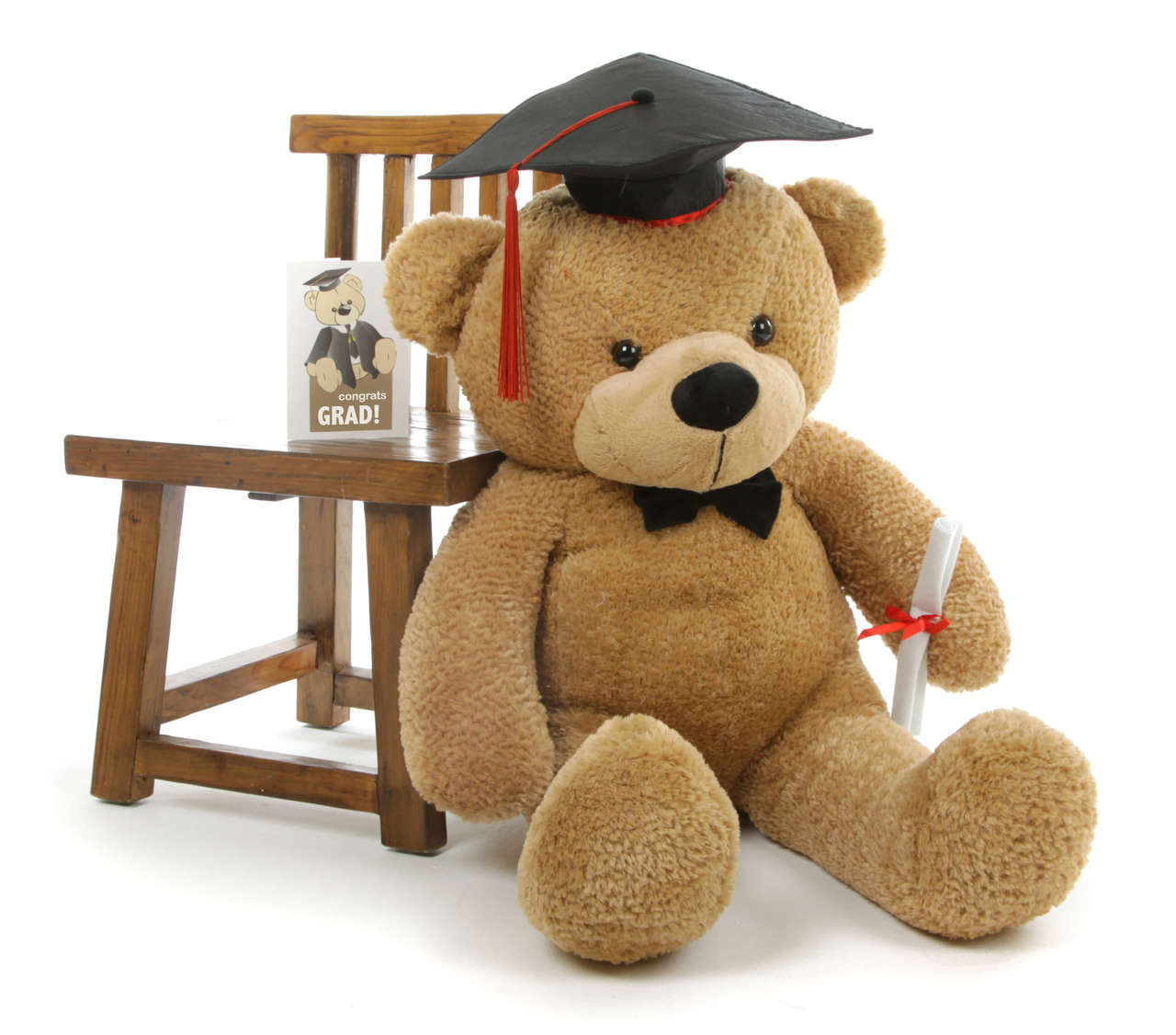 Shaggy G Cuddles Amber Graduation Teddy Bear with Cap and Diploma 38in