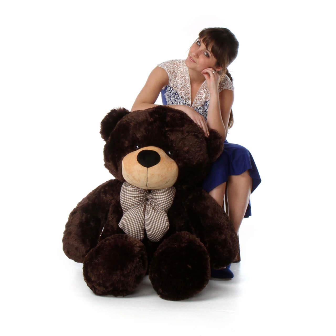 4ft huggable Brown Teddy Bear Brownie Cuddles Chocolate Brown Fur