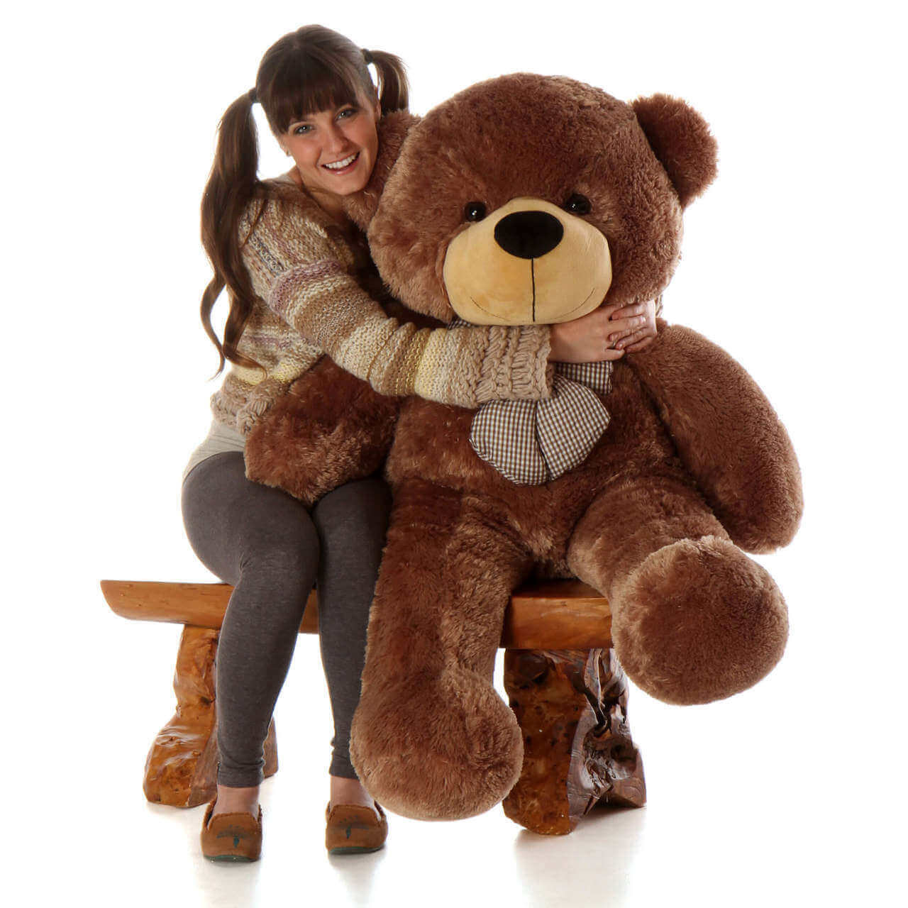 Sunny Cuddles mocha brown teddy bear 46in