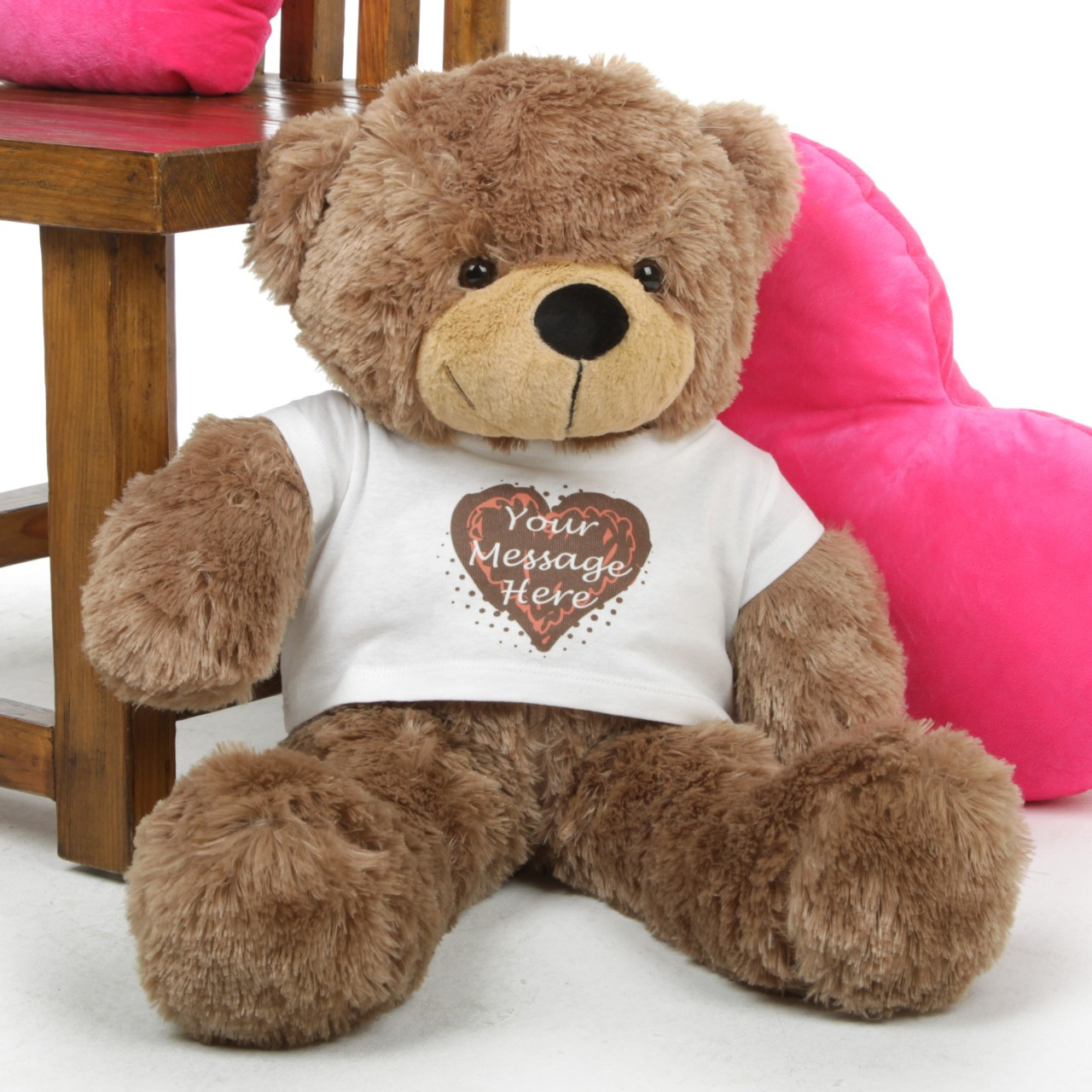 Mocha 30in Sunny Cuddles Personalized Teddy Bear With Heart Truffle Tshirt