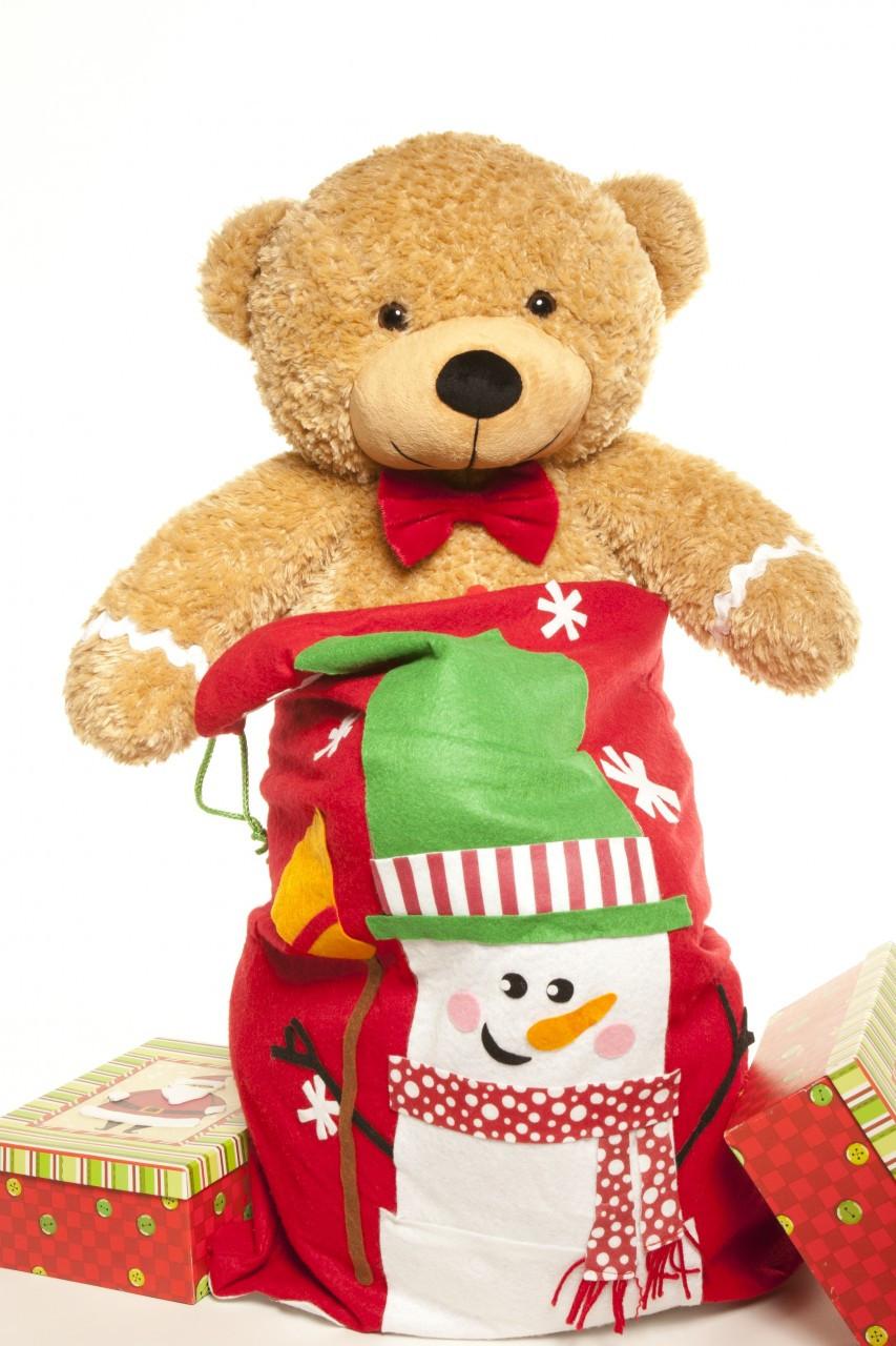 2 Foot Amber Brown Ginger Bred Teddy Bear for Christmas