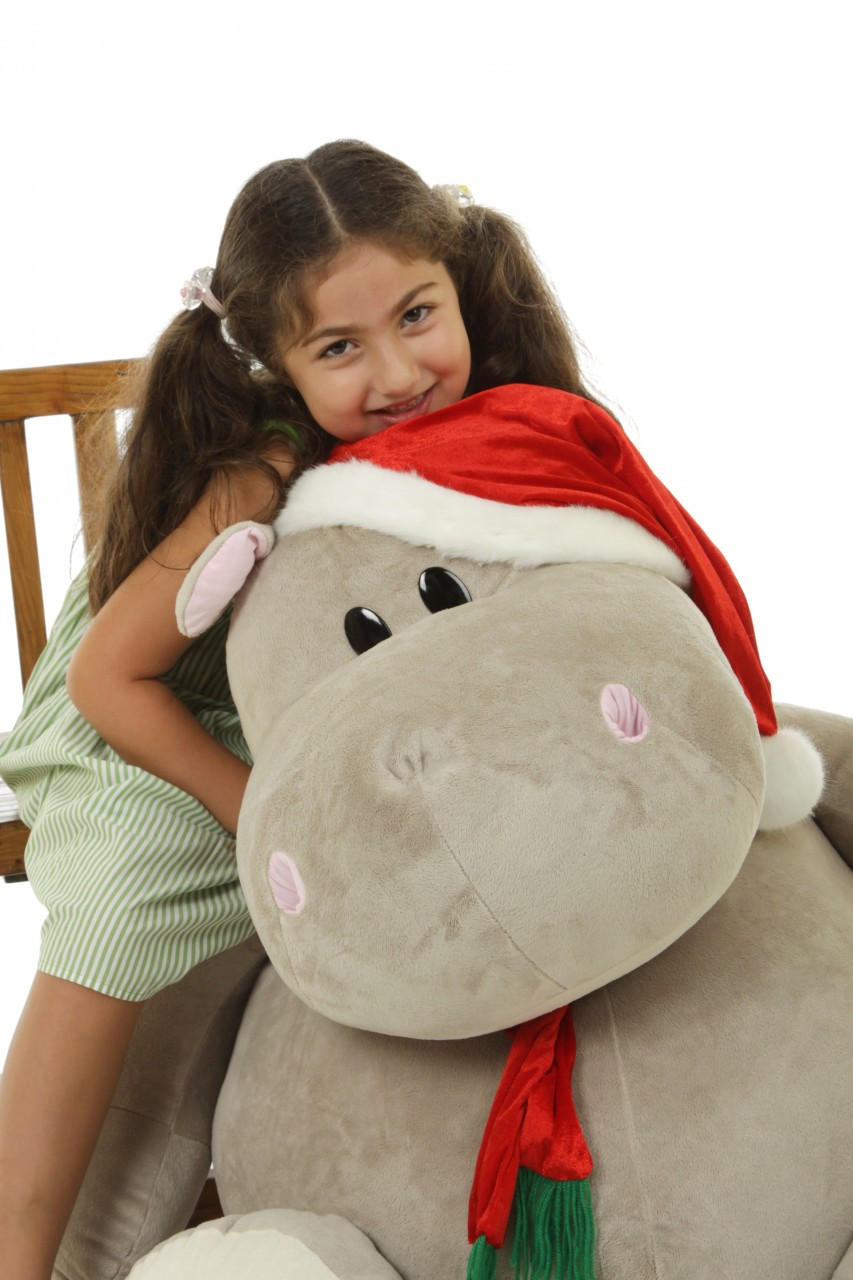 Huge Stuffed Animal Hippo with Christmas Hat and Scarf