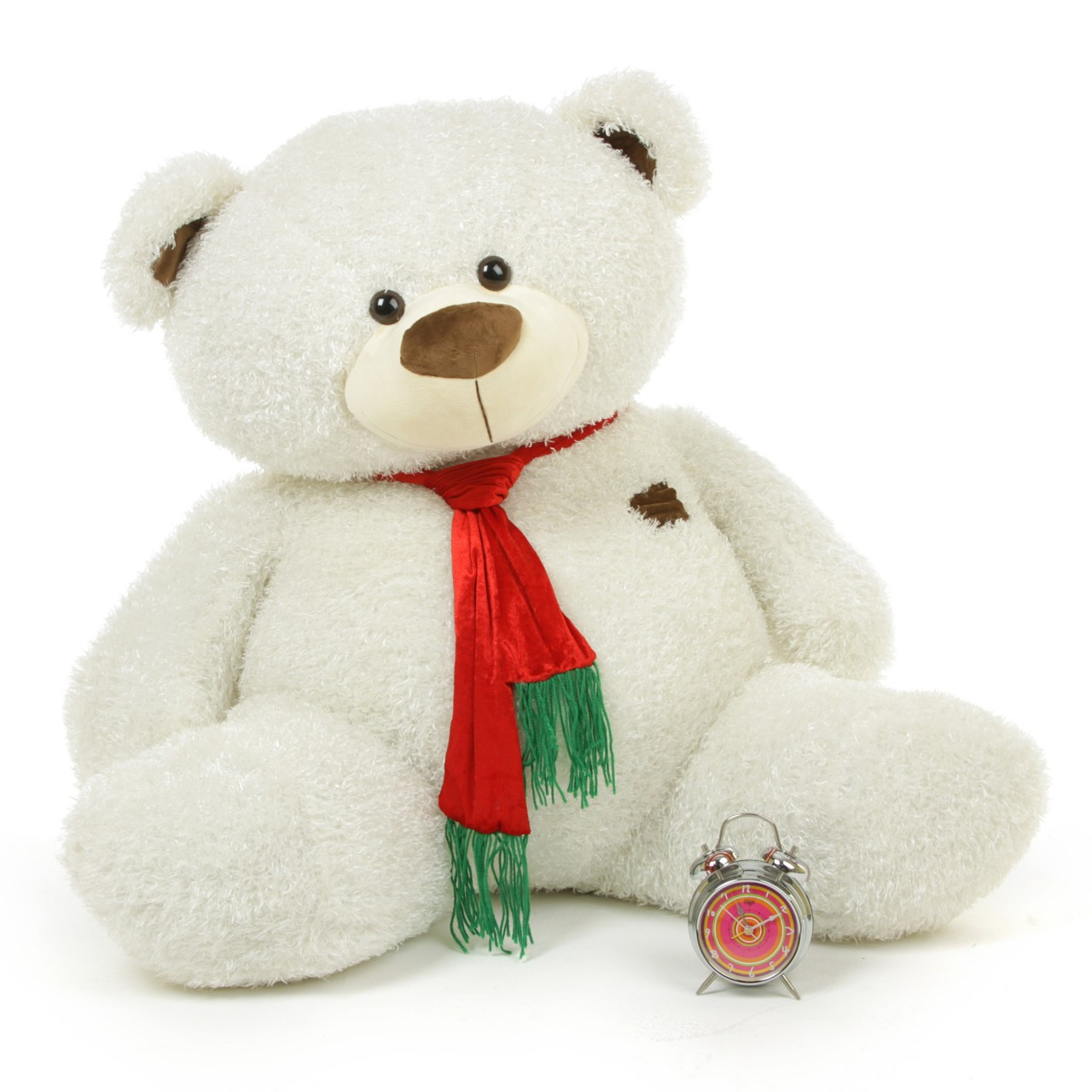 White Teddy Bear with Christmas Scarf