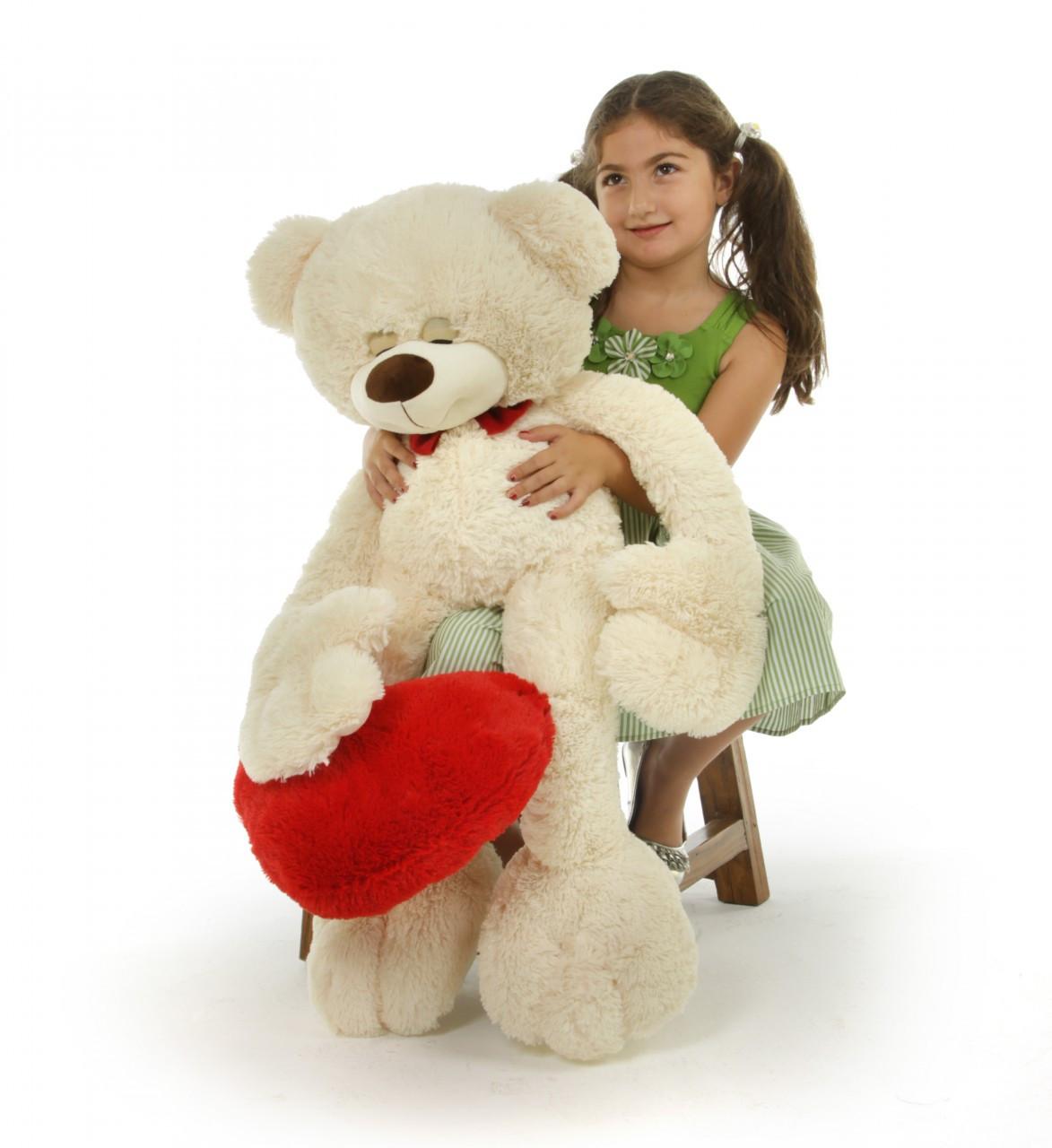 Super Cute Cream Teddy Bear with Red Heart