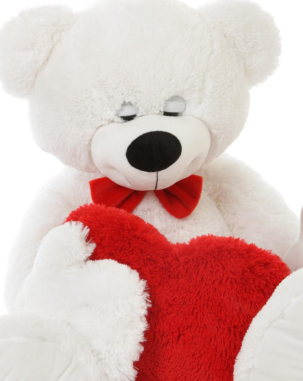 White Cute Sleepy Teddy Bear with Fluffy Red Heart