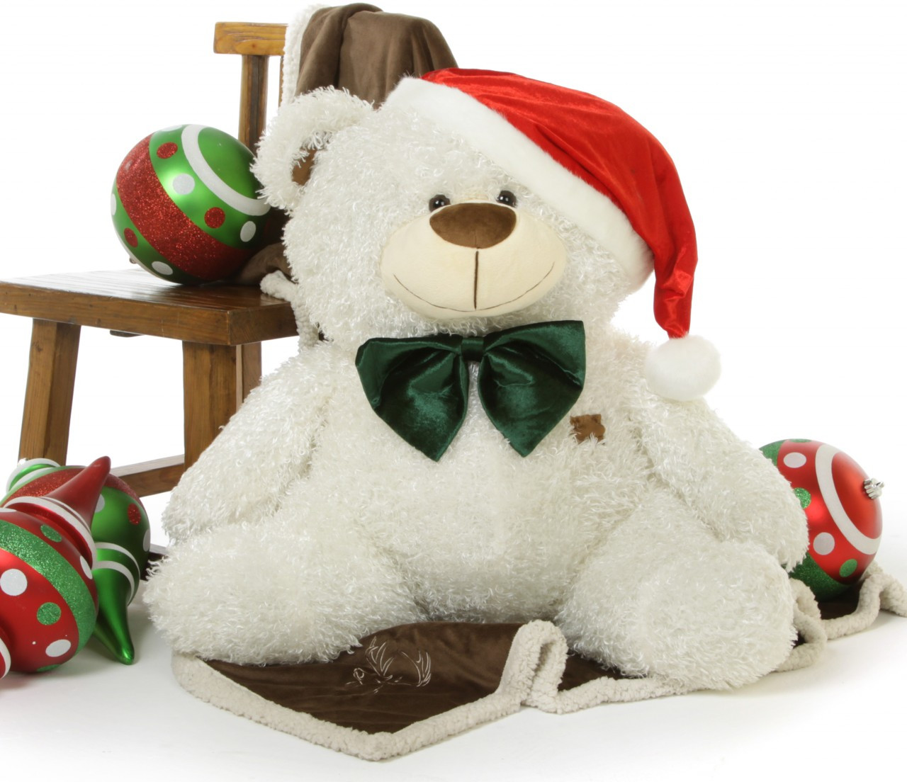 Big White Christmas Teddy Bear Joy Fluffy Shags, 35 inches of Holiday Cheer!