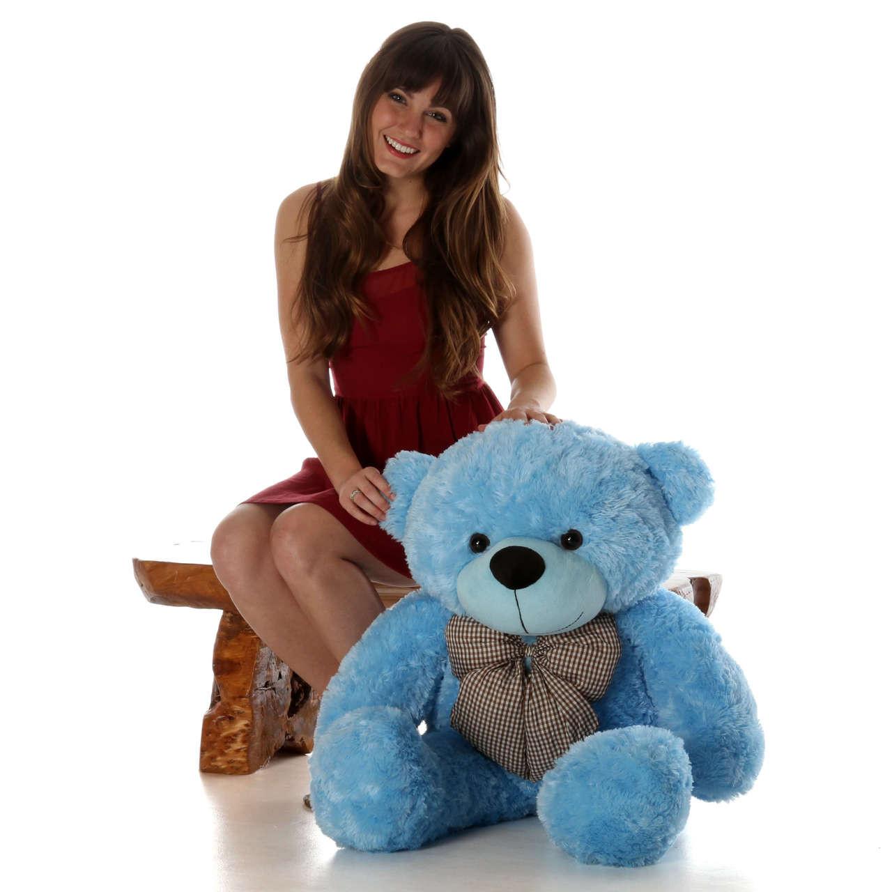 38in Happy Cuddles Blue Teddy Bear
