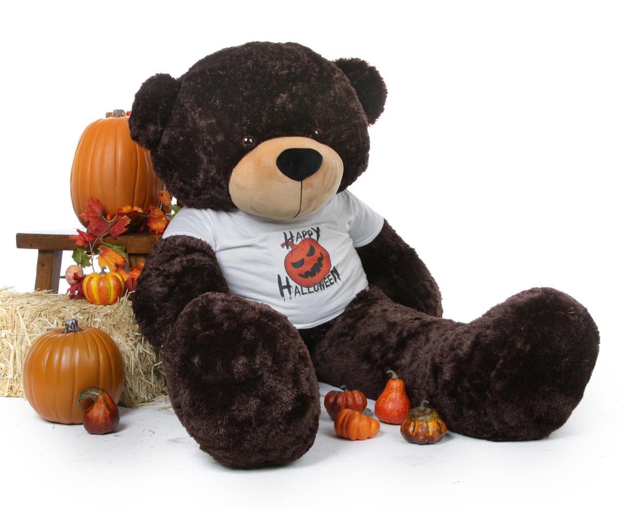 60 inch Giant Teddy Halloween Bear Brownie Cuddles wearing a Happy Halloween custom t-shirt with a black and orange jack-o-lantern is an amazing gift!