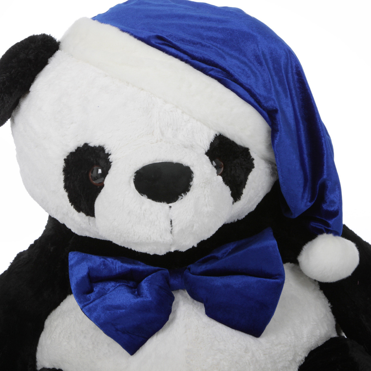 Stuffed Panda with Blue Christmas Hat and Bow